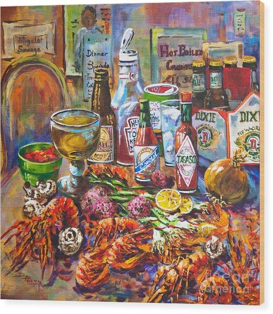 La Table De Fruits De Mer Wood Print