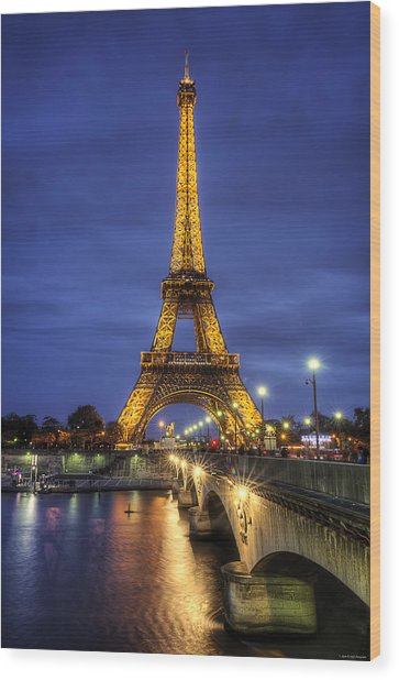 Wood Print featuring the photograph La Tour Eiffel by Ryan Wyckoff