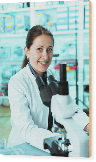 Lab Technician With A Microscope Wood Print by Wladimir Bulgar/science Photo Library