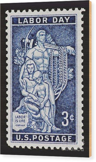 Labor Day Vintage Postage Stamp Print Wood Print