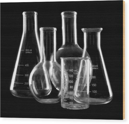 Laboratory Glassware Wood Print