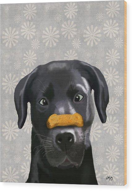 Labrador Black With Bone On Nose Wood Print by Kelly McLaughlan
