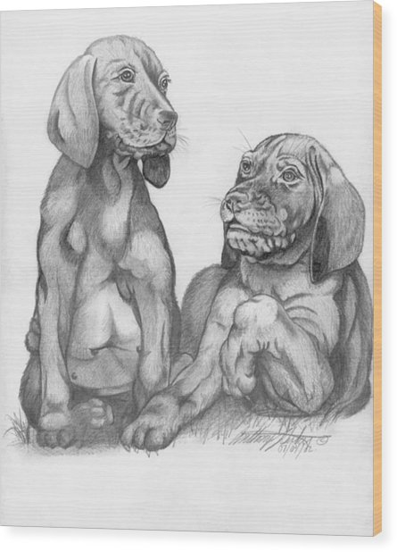 Labrador Retriver Puppies Wood Print