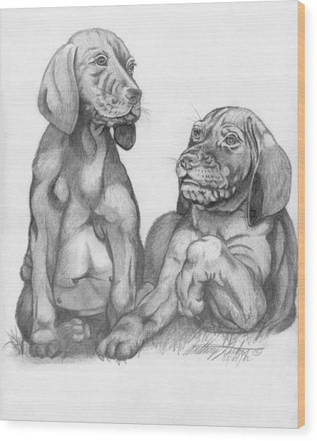 Labrador Retriver Puppies Wood Print