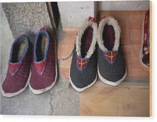 Ladakh, India Traditional Fabric Shoes Wood Print