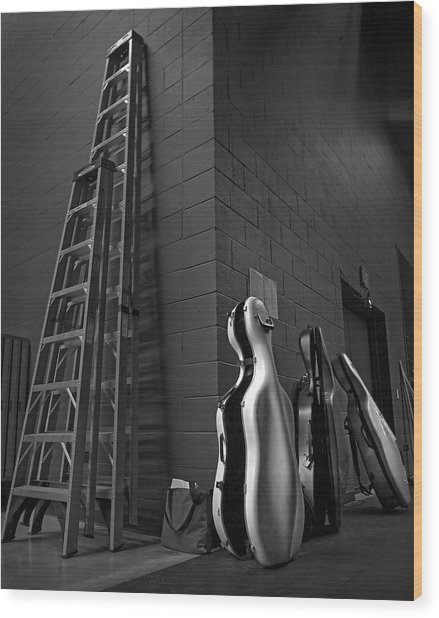 Ladders And Cello Cases Wood Print by Adrian Mendoza