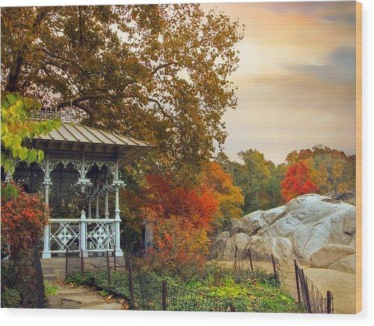 Ladies Pavilion In Autumn Wood Print