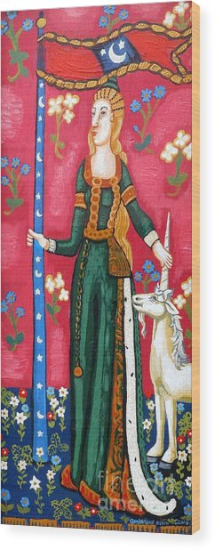Lady And The Unicorn La Pointe Wood Print