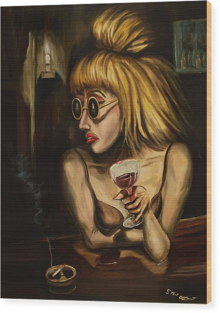 Lady At The Bar Wood Print