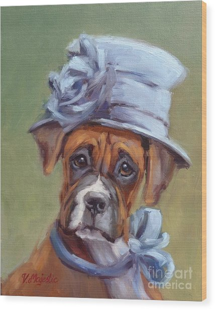 Lady Boxer With Blue Hat Wood Print