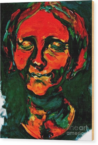 Lady In Orange Wood Print by Michelle Dommer