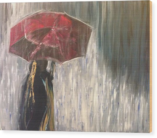 Lady In Rain Wood Print