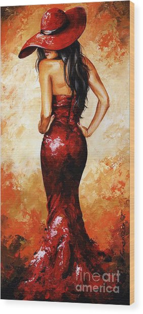 Lady In Red 035 Wood Print