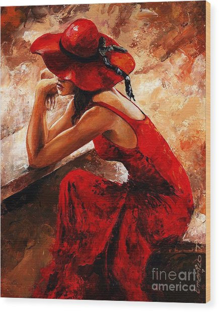 Lady In Red 21 Wood Print