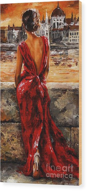 Lady In Red  34 -  I Love Budapest Wood Print