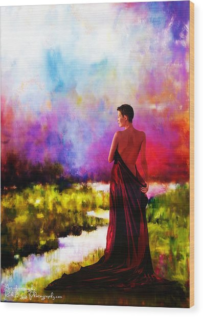Lady In Red Wood Print by Rick Buggy