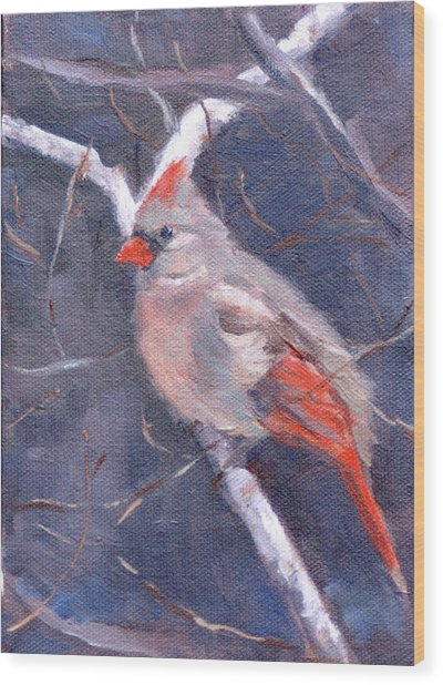 Lady In Red Wood Print by Sandra Harris