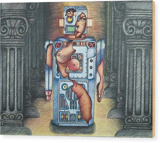 Lady In The Robot Wood Print by Larry Butterworth