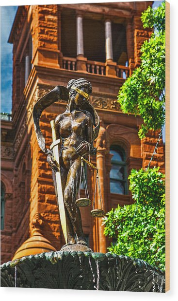 Lady Justice Fountain Wood Print by Greg Sharpe