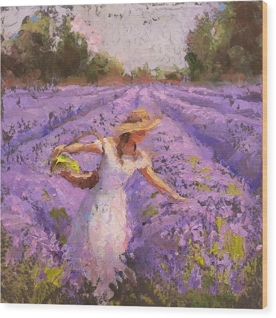 Woman Picking Lavender In A Field In A White Dress - Lady Lavender - Plein Air Painting Wood Print