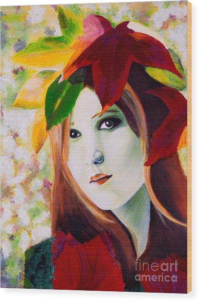 Lady Leaf Wood Print