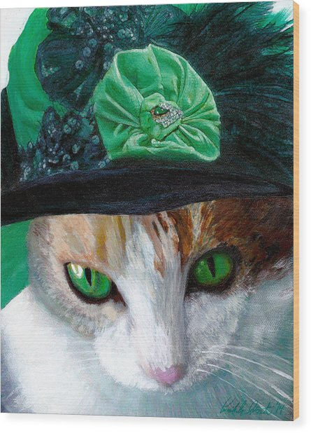 Lady Little Girl Cats In Hats Wood Print