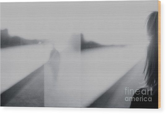 Lady Looking At Man Analog 35mm Black And White Lomo Film Photo Wood Print by Edward Olive