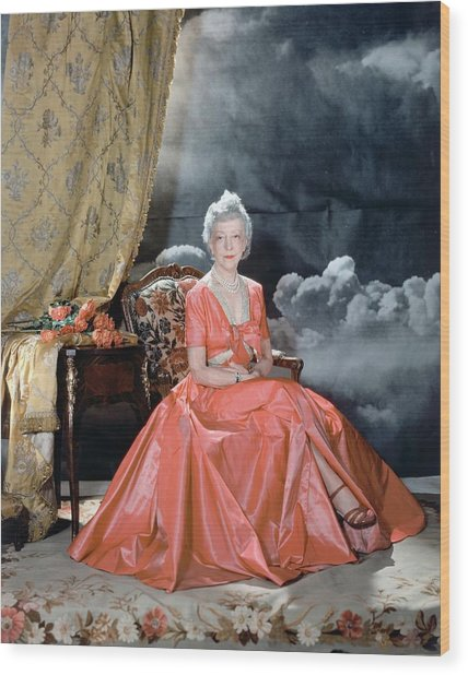 Lady Mendl Wearing An Orange Dress Wood Print by Horst P. Horst