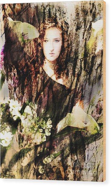 Lady Of Bark Wood Print