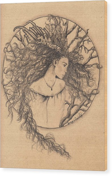 Lady Of The Forest Wood Print