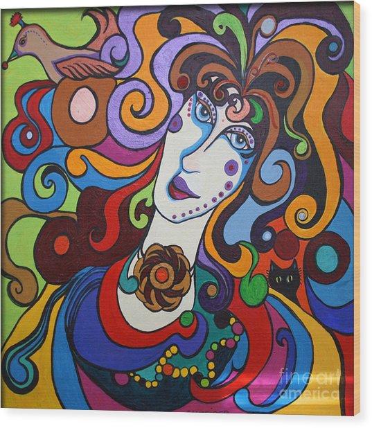 Lady Of The Opera  Varga Wood Print