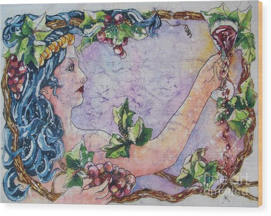 Lady Of The Vine Wood Print