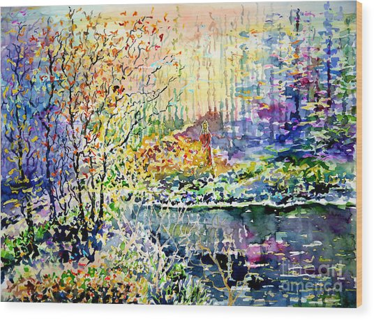 Lady Of Wood And Pond Wood Print
