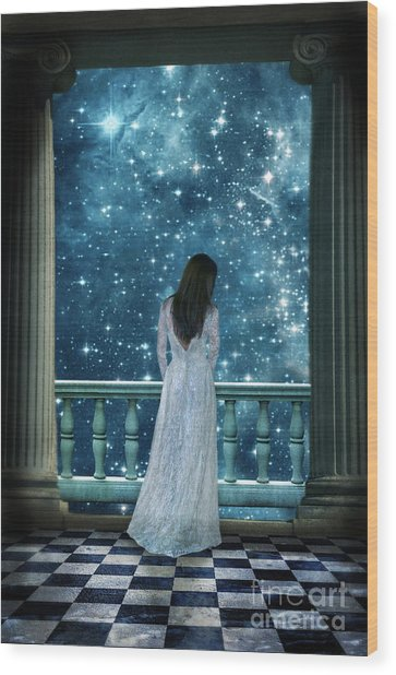 Lady On Balcony At Night Wood Print