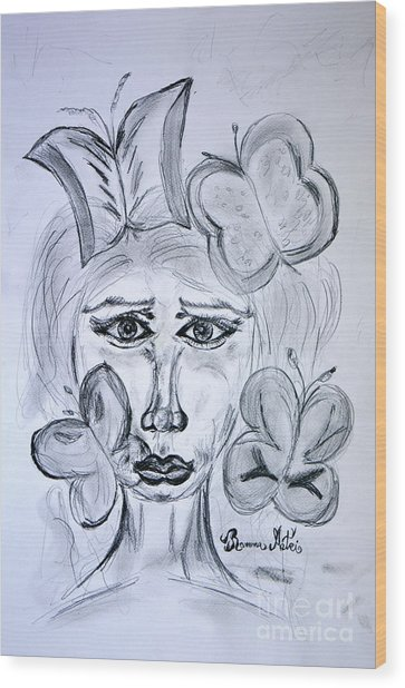 Lady Queen Of Butterflies Wood Print