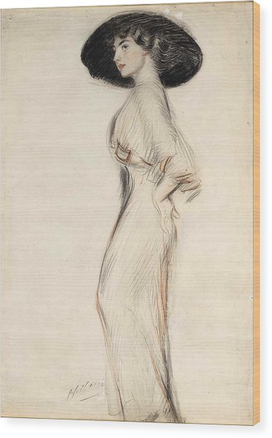 Lady Standing With Hat Wood Print