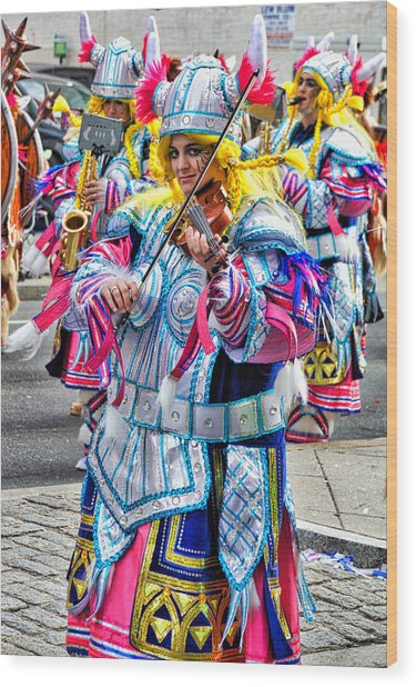 Lady Viking Mummer Wood Print