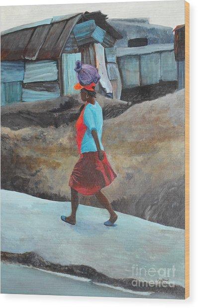 Lady Walking - Port -au- Prince Wood Print