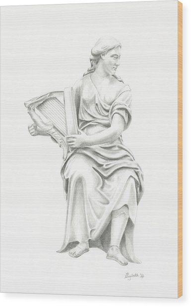 Lady With Harp II Wood Print