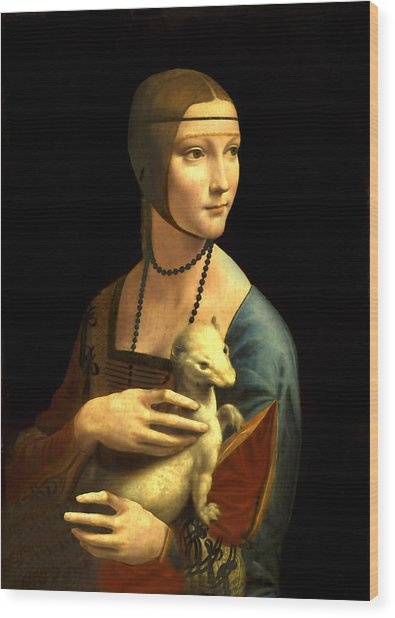 Lady With The Ermine Reproduction Wood Print