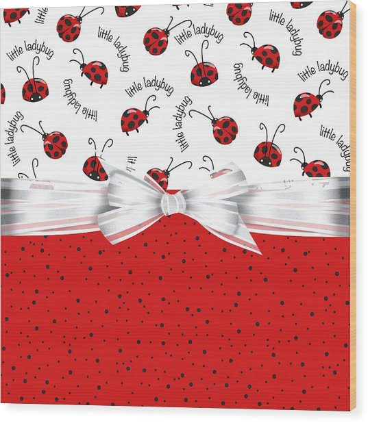 Ladybug Red And White  Wood Print