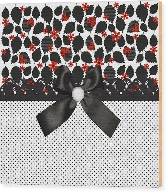 Ladybugs Leaves  Wood Print