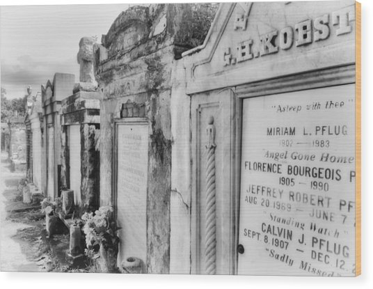 Lafayette Cemetery Black And White Wood Print
