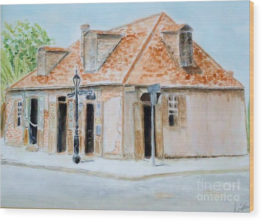 Lafitte's Blacksmith Shop Wood Print by Katie Spicuzza