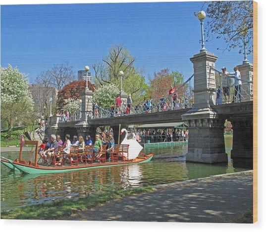Lagoon Bridge And Swan Boat Wood Print