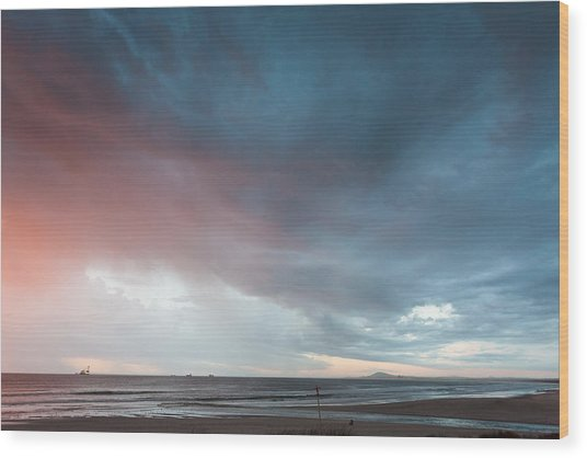 Lagoon Mouth Sunset Wood Print