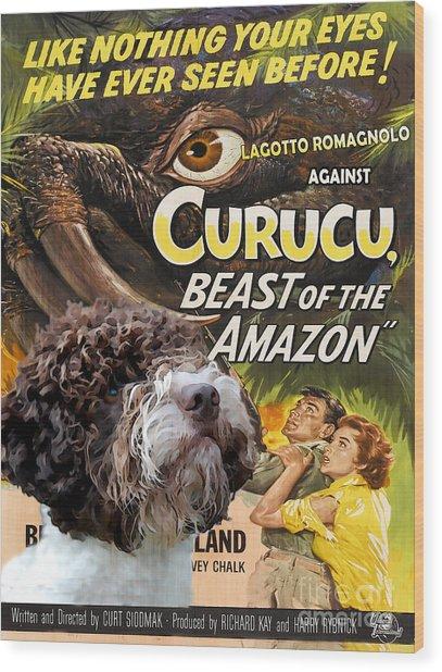 Lagotto Romagnolo Art Canvas Print - Curucu Movie Poster Wood Print