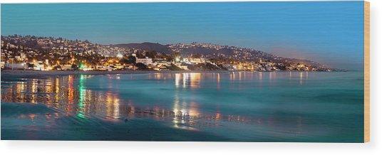 Laguna Beach Twilight Reflections Wood Print