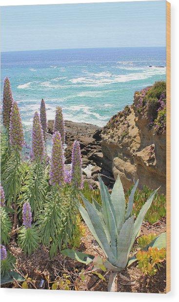 Laguna Coast With Flowers Wood Print