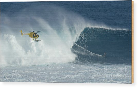Laird Hamilton Going Left At Jaws Wood Print